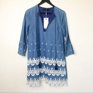 NWT Endless Rose Embroidered Denim Shift Dress S